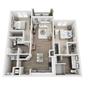 Rendering of the B2 floor plan layout