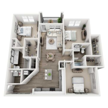 Rendering of the C1 floor plan layout